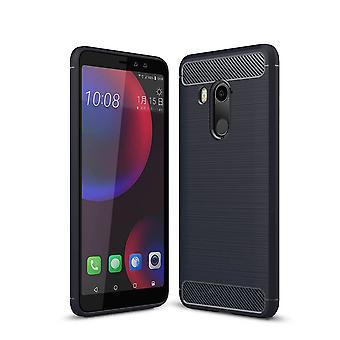 HTC U11 Eyes TPU Case Carbon Fiber Optik Brushed Schutz Hülle Blau