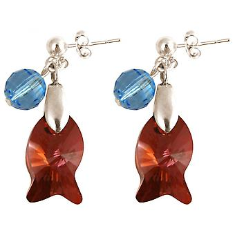3 cm fish - Red - Blue - Ladies - earrings - 925 Silver-