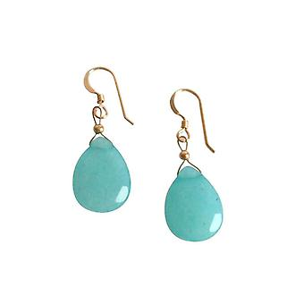 Ladies earrings jade blue 925 sterling silver 2.5 cm