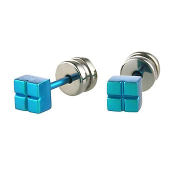 TI2 Titanium Square Ohrstecker - Kingfisher blau