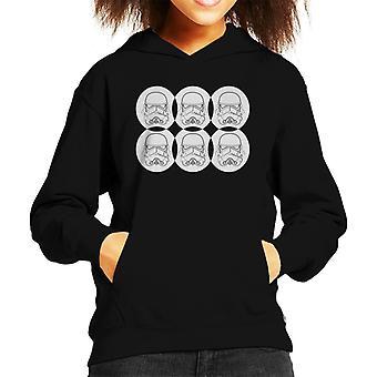 Original Stormtrooper Line Art Helmet Circles Kid's Hooded Sweatshirt