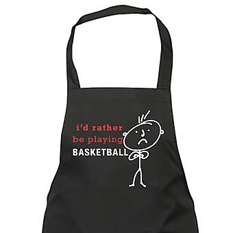 Mens I'd Rather Be Playing Basketball Black Apron
