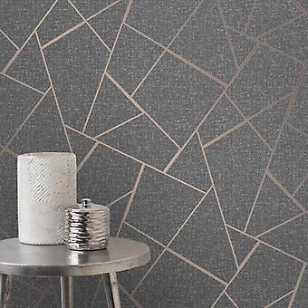 Fd42283 Elegant Quartz Fractal Silver Copper Glitter Wallpaper 10.05x0.52M