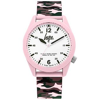 Hype   Ladies Camouflage Silicon Strap   White Dial   HYL019NP Watch