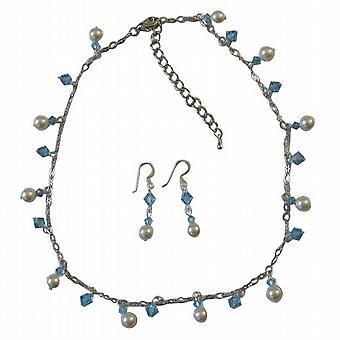 Aquamarine Crystals White Pearls Bridesmaid Handcrafted Jewelry Set