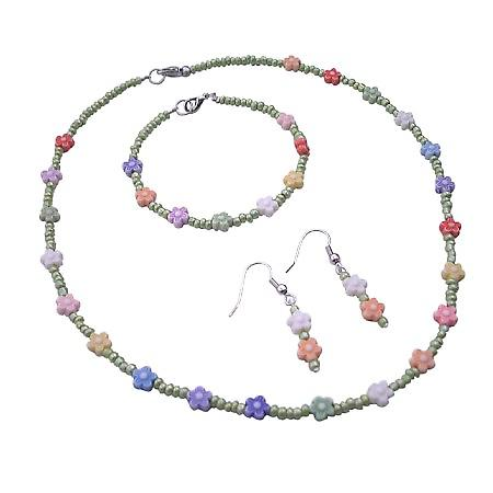 Tiny Green Beads Necklace w/ Multicolored Flower Complete Set