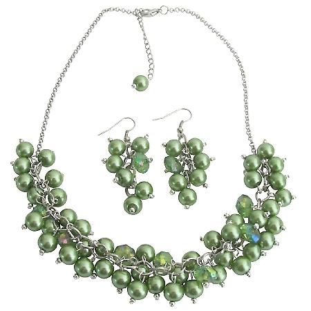 Cluster Necklace Grape Earrings In Kelly Green Pearls & Crystals Bridesmaid Jewelry