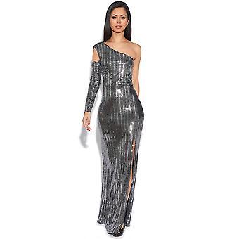 Maxi robe de luxe Sequin épaule froide