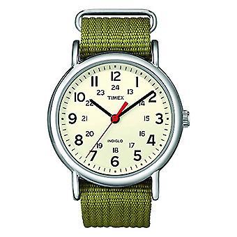 Timex T2N651 Orologio da Polso al Quarzo, Analogico, Unisex, Tessuto, Beige/Verde
