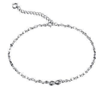 925 Sterling Silver 1mm Width Diamond Cut Bow Anklet