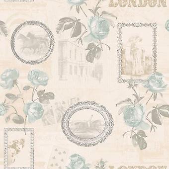 Floral pato huevo Wallpaper crema marcos de la escritura plata Metallics