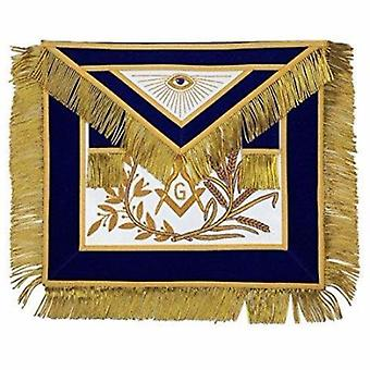 MASTER MASON Gold Embroidered Apron square compass with G Blue