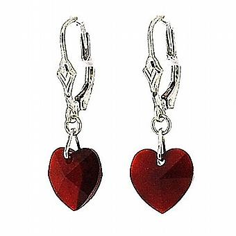 TOC Red Crystal Heart Drop Earrings 28mm