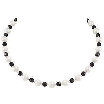 Jet et éternelle Collection Romanza White Shell Pearl noir collier en cristal autrichien