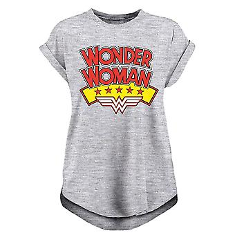 Women's Wonder Woman Stacked Logo Rolled Sleeve T-Shirt