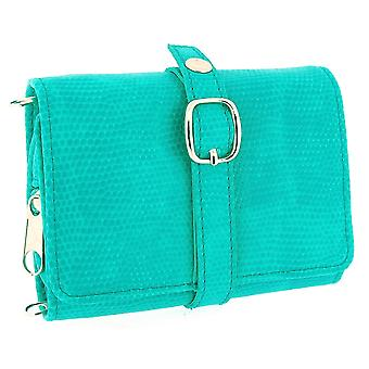 Mele Ladies-Girls Blue/Green Compact Travel Jewellery Purse 601