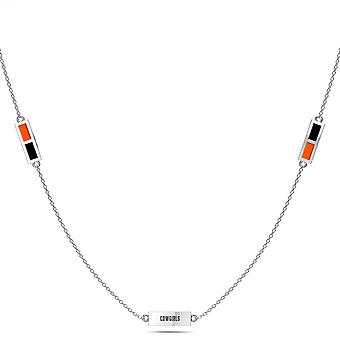 Oklahoma State University graveret tredobbelt Station halskæde i sort og mørk orange
