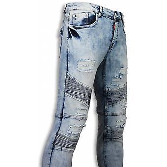 Exclusivo Holed rasgado jeans-Slim Fit Biker jeans fluted joelho-azul