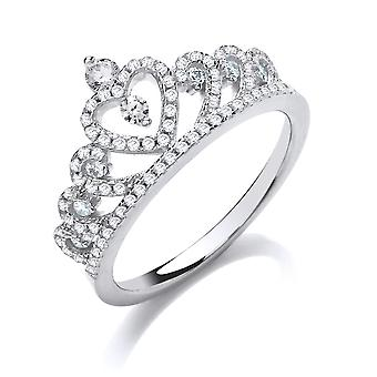 Jewelco London Damen Rhodium vergoldet Sterling Silber weiß Runde brillante Kubik Zirkonia Königin Krone Kleid Ring
