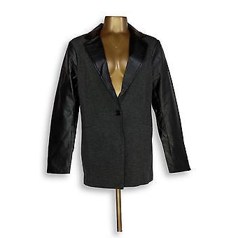 Linea by Louis Dell'Olio Women's Blazer Color Block Button Gray A268123