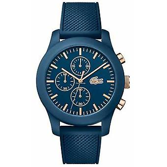 Lacoste Mens 12.12 Chrono Blue Silicone Strap Blue Dial 2010827 Watch