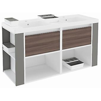 Bath+ Cabinet 2 Drawers + Shelves With Resin Basin Fresno-White-Gris120
