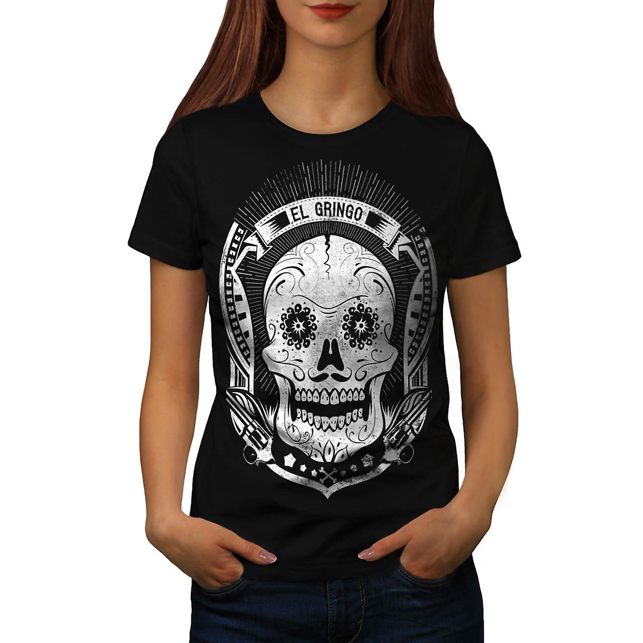 Mexican Skull Death Evil Monster Women Black T-shirt | Wellcoda