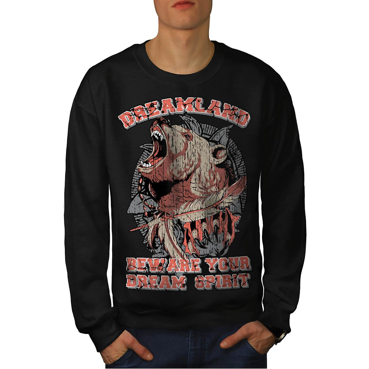 Dream Land Wild Bear Danger Roar Men Black Sweatshirt | Wellcoda