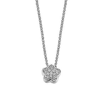 ESPRIT women's chain necklace silver cubic zirconia little blossom ESNL92155A420