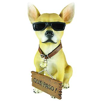 Cool Chillin`` Chihuahua Dog Welcome Statue