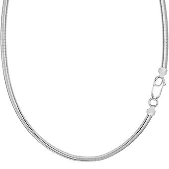 Sterling zilveren Rhodium Plated ronde koepel Omega Chain ketting, 4mm