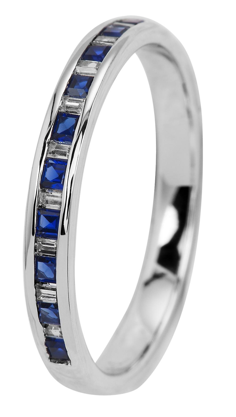 Burgmeister women's ring JBM2016-111, 925 sterling silver rhodanized, blue + white zirconia