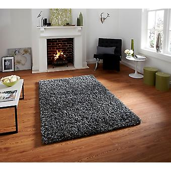 Luxurious Anti Shed Silver Wool Shag Rug - Athens