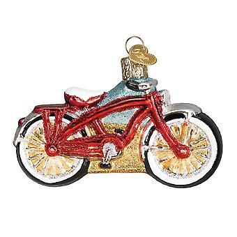 Stary świat Bożego Narodzenia Cruiser czerwony rower wakacje Ornament szkła 3.75 cale