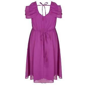SCARLETT & JO Purple Chiffon Wrap Midi Dress