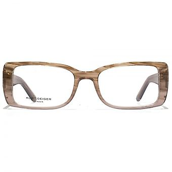 Kurt Geiger Isabelle Square Acetate Glasses In Nude To Brown Horn Gradient
