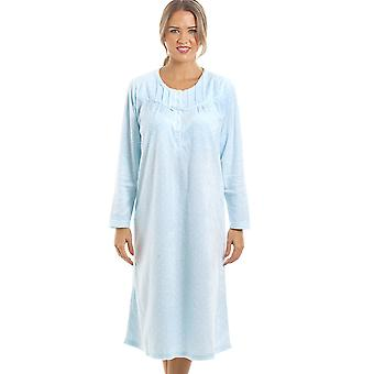 Camille Long Sleeved Supersoft Blue Fleece Nightdress With White Polka Dots