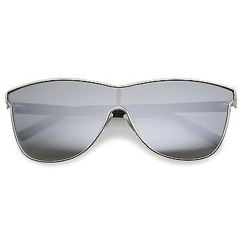 Futuristic Horn Rimmed Colored Mirror Mono Lens Cat Eye Sunglasses 65mm