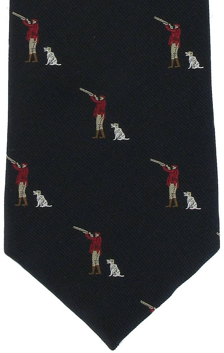 Michelsons of London Gun Man & Gun Dog Silk Tie - Blue