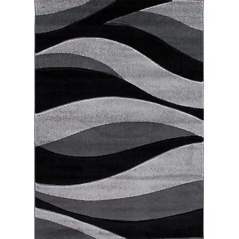 Black & Grey Wave Living Room Rug - Rio