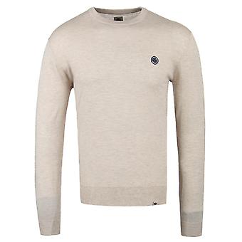 Pretty Green Hinchcliffe Stone Wool Knitted Crew Neck Sweater
