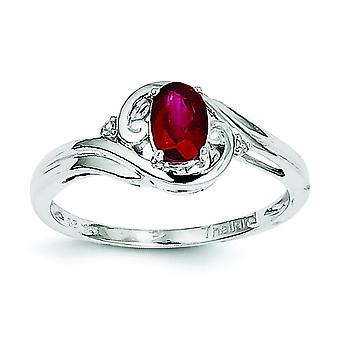 Sterling Zilver gepolijst Open terug Rhodium-plated Rhodium Plated Diamond en Ruby Ring - Ringmaat: 6 tot en met 9