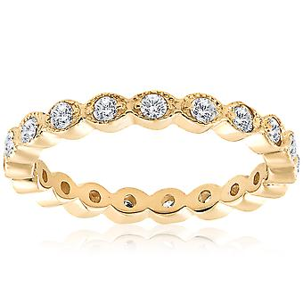 1/3ct Stackable Diamond Wedding Filigree Eternity Ring 14K Yellow Gold