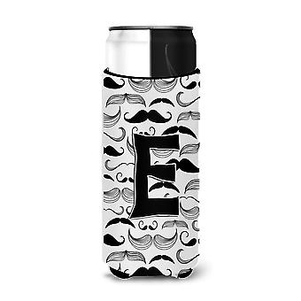 Letter E Moustache Initial Ultra Beverage Insulators for slim cans