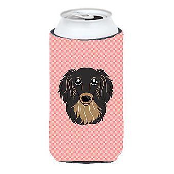 Checkerboard Pink Longhair Black and Tan Dachshund Tall Boy Beverage Insulator H