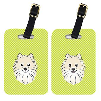 Pair of Checkerboard Lime Green Pomeranian Luggage Tags