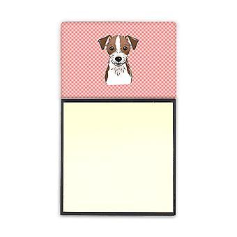 Sjakkbrett rosa Jack Russell Terrier Refiillable klistrelapp holderen eller Postit