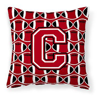 Letter C Football Red, Black and White Fabric Decorative Pillow