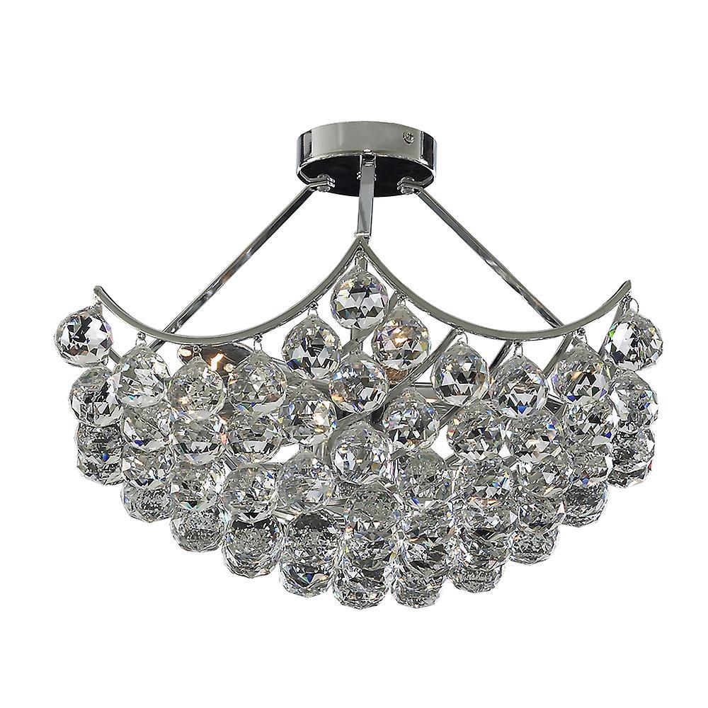 Searchlight 6555-5CC Sassari 5 Light Chrome & Crystal Semi-Flush Lamp
