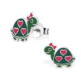Turtle - 925 Sterling Silver + Epoxy Colour Colourful Ear Studs